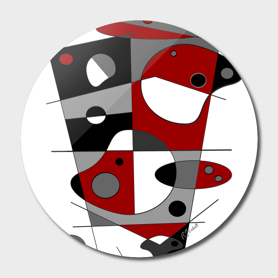 Abstract #36 in Red, Gray, Black & White