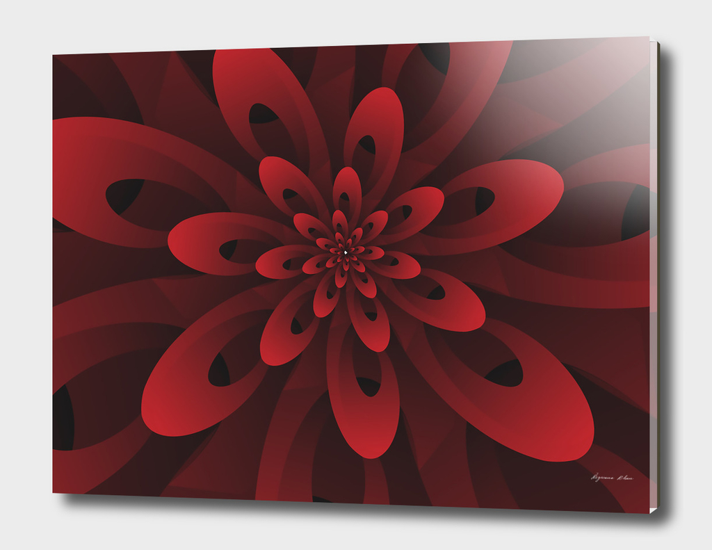 Abstract Digital Modern Red Floral Design