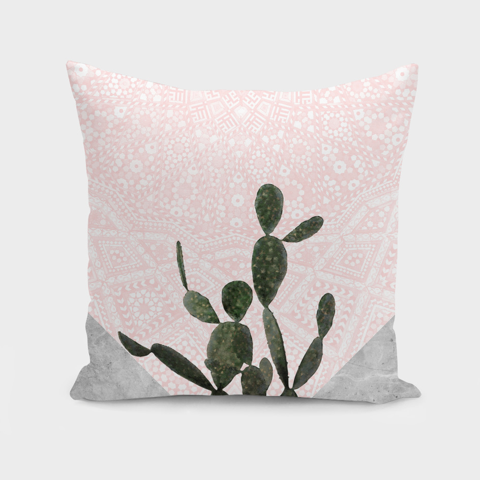Cactus on Grey Marble with Pink Persian Mosaic Pattern