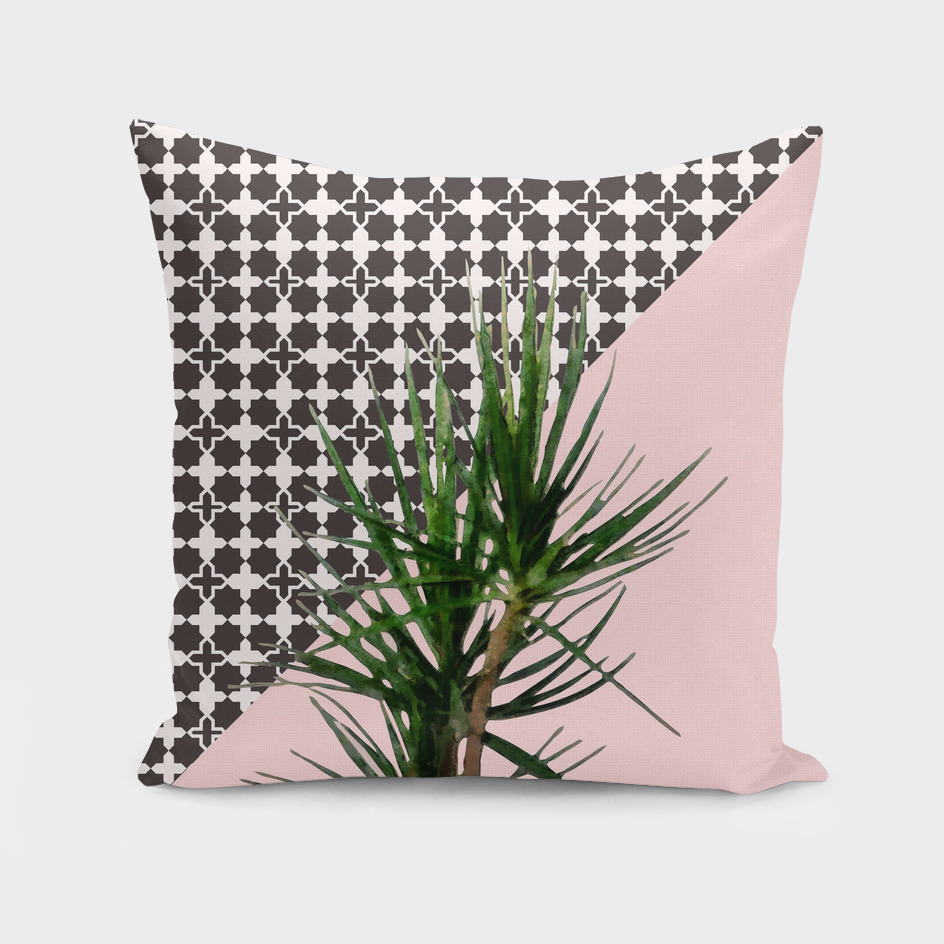 Dracaena on Pink and Lattice Pattern