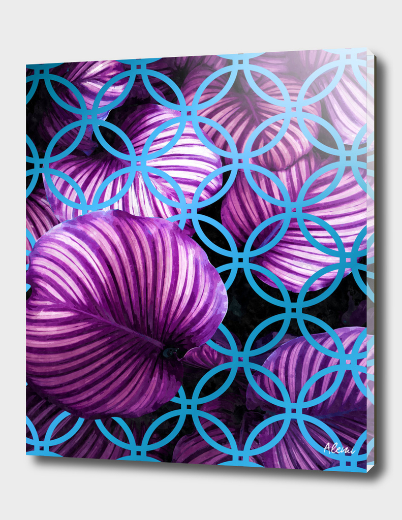 Purple Leaves Blue Geometric