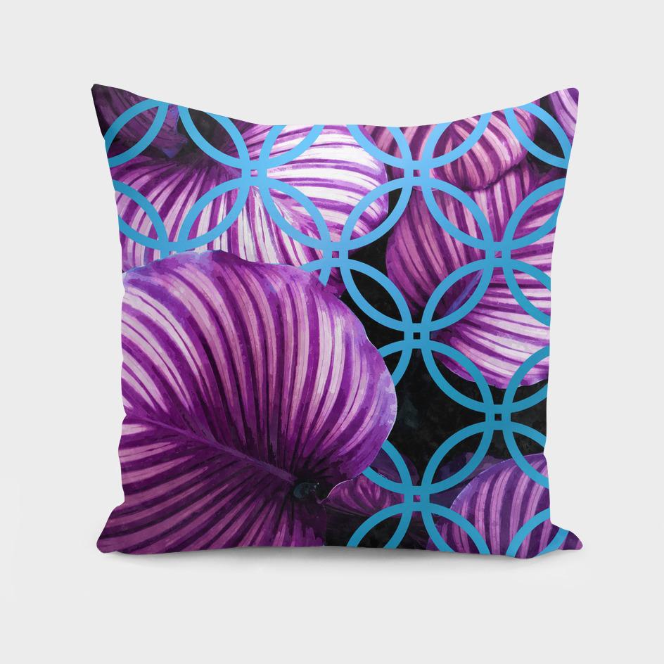 Purple Leaves Blue Geometric