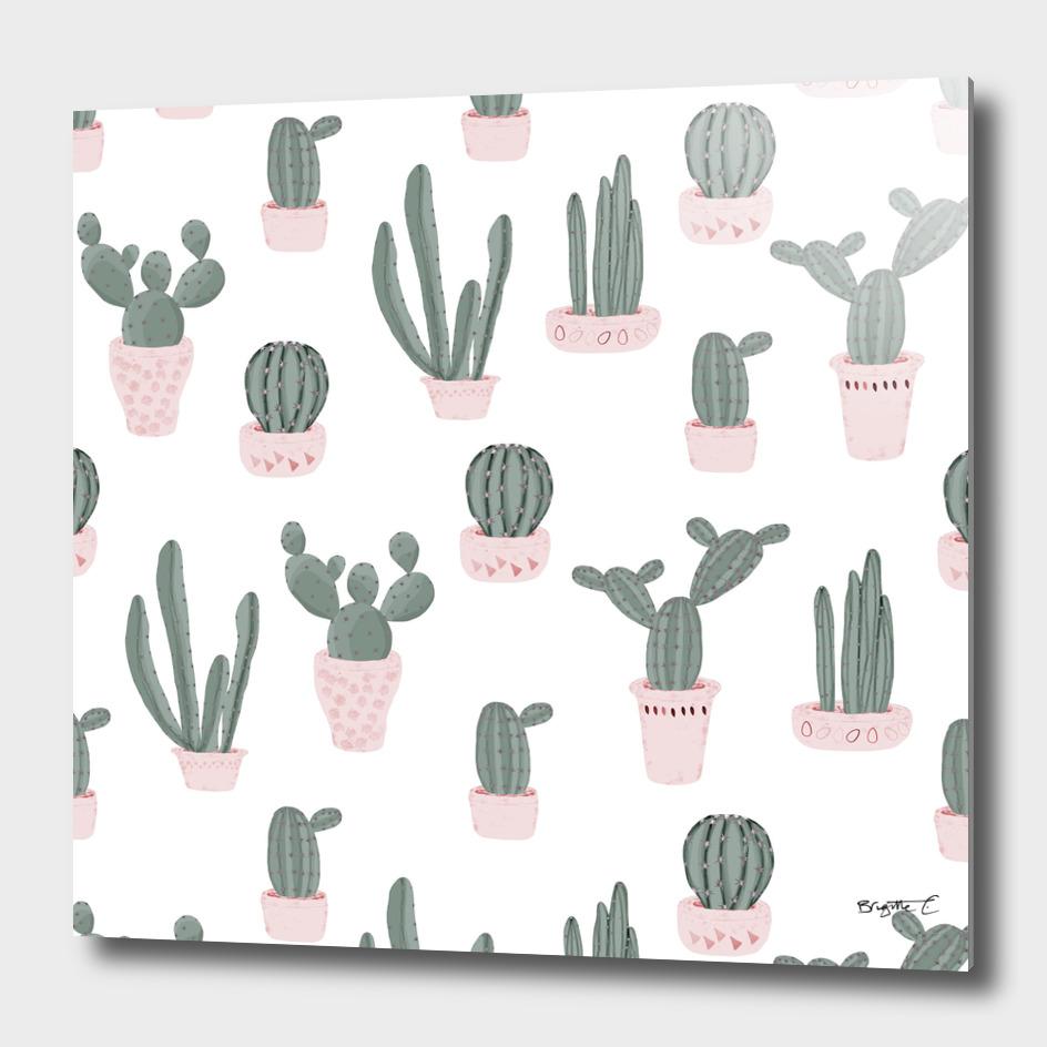 Elegant Cacti in Pots Pattern