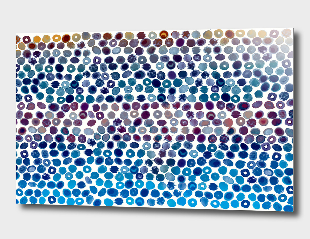 Watercolor Splashes Pattern in Cobalt, Violet and Ocher
