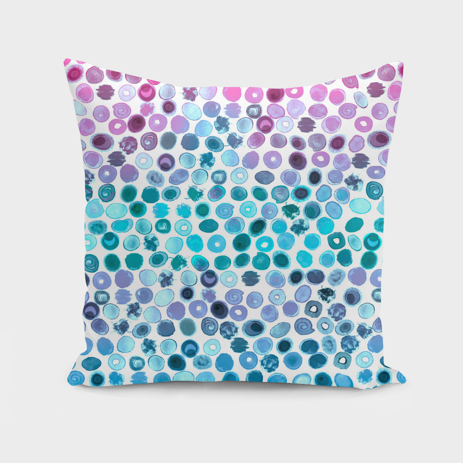 Watercolor Splashes Pattern in Pink, Turquoise and Blue
