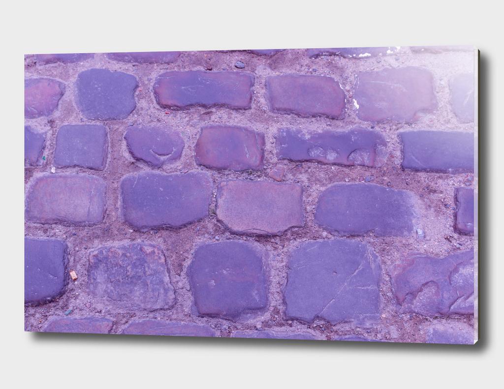 Texture Ancient Cobblestone Roadway Close-up Violet