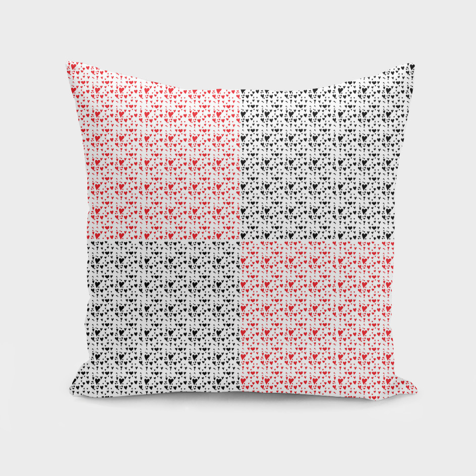 Imperfect Hearts Checkerboard Pattern - Red/Black/WHITE