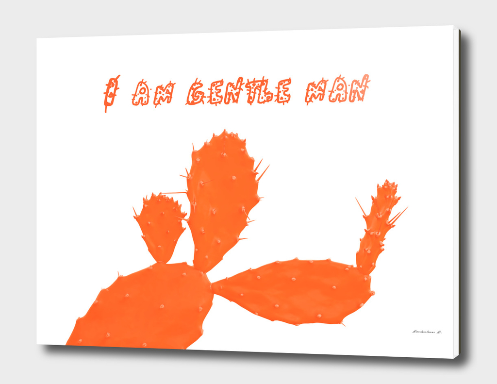 Cactus man with flower and text above