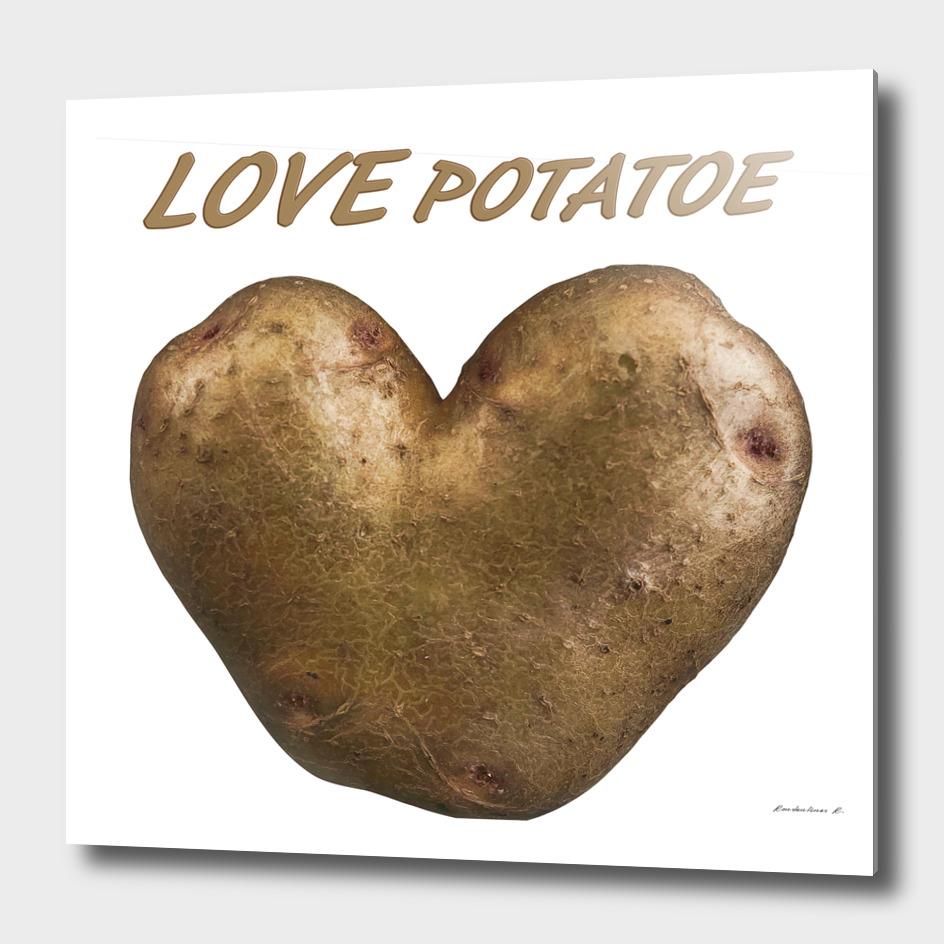Heart shaped potatoe with text