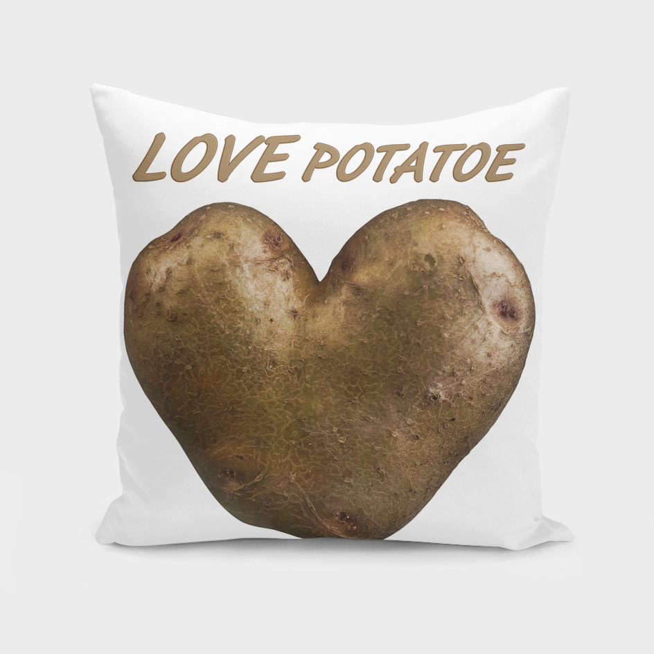 Heart shaped potatoe with text