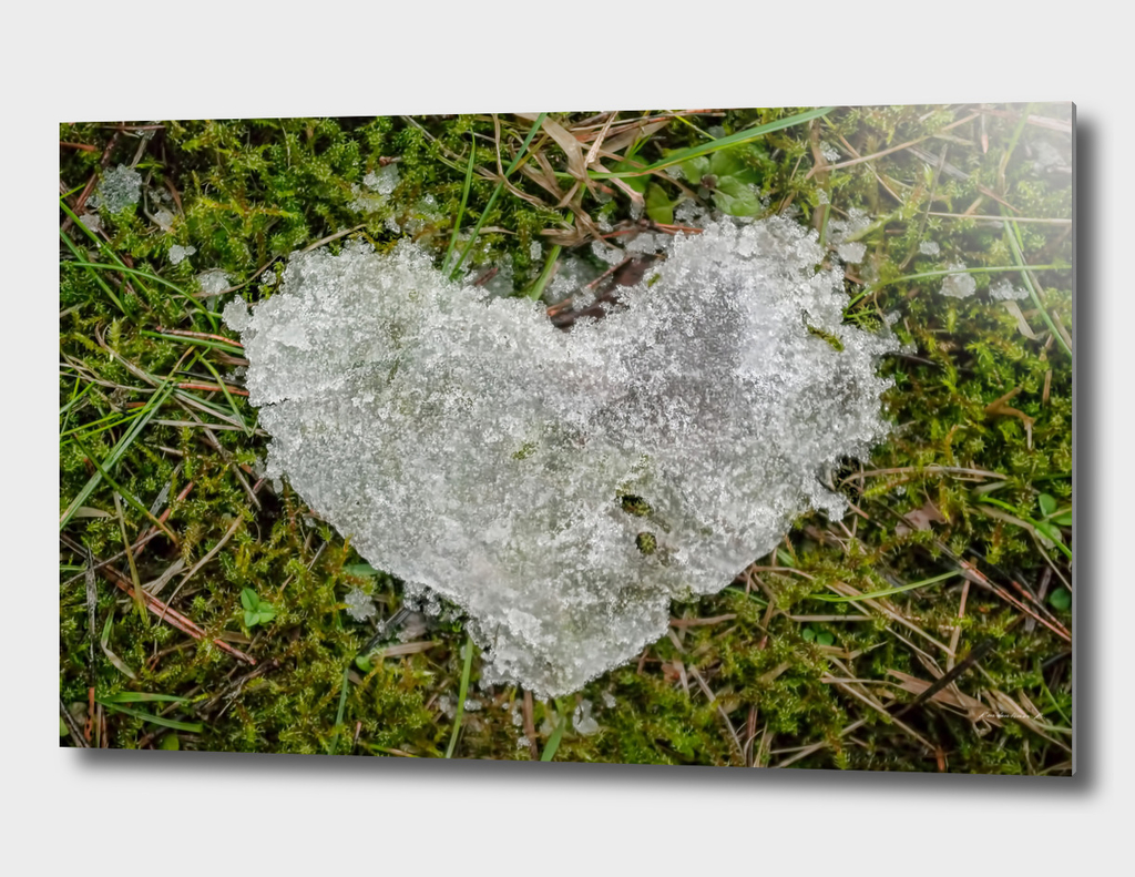 white snow shaped heart