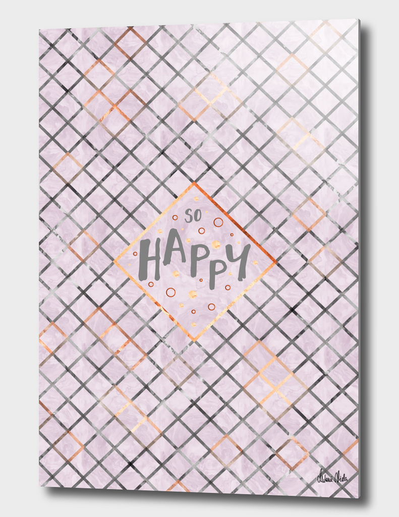 Text Art SO HAPPY | rosegold