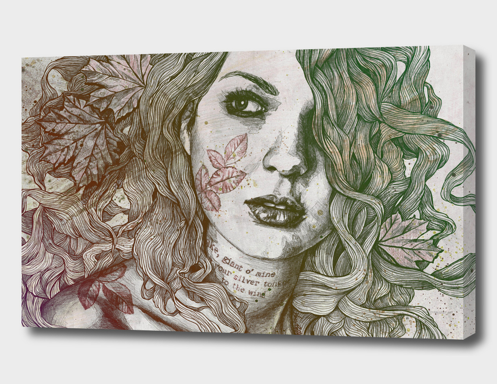 Wake: Autumn (street art woman with maple leaves tattoo)