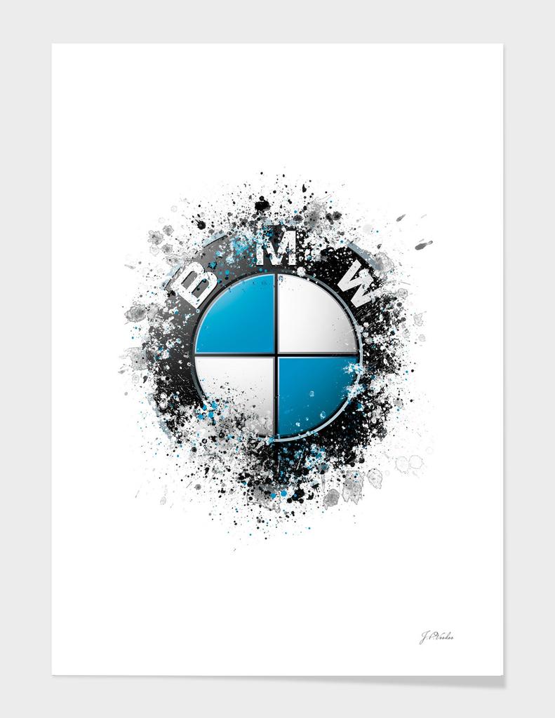 171 Bmw Logo Splatter Painting 187 Art Print By J P Voodoo