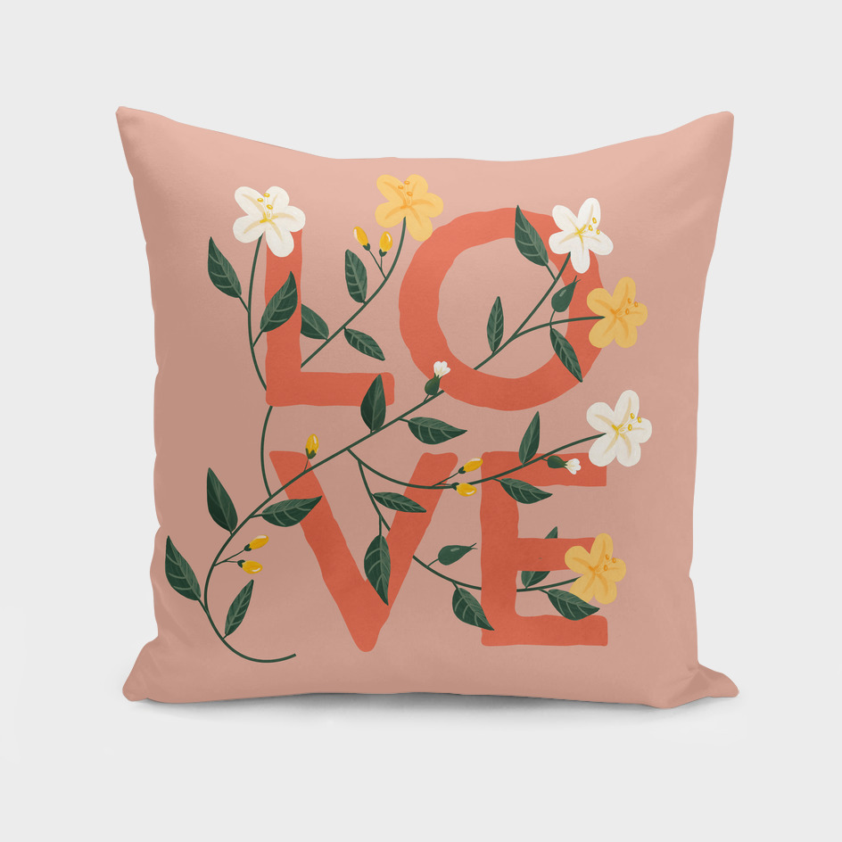 Love - A Pink floral watercolor vintage pillow