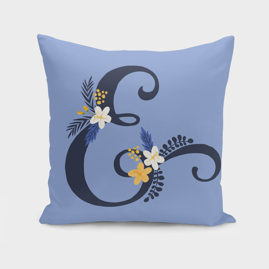Purple ampersand floral throw pillow