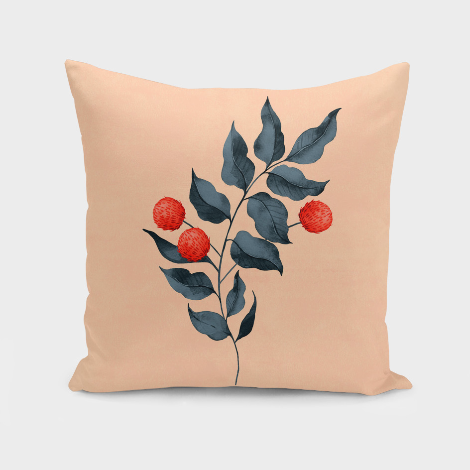 Vintage botanical pillow with red flower