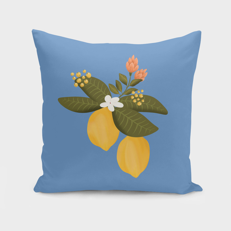 Vintage lemon tree botanical accent pillow