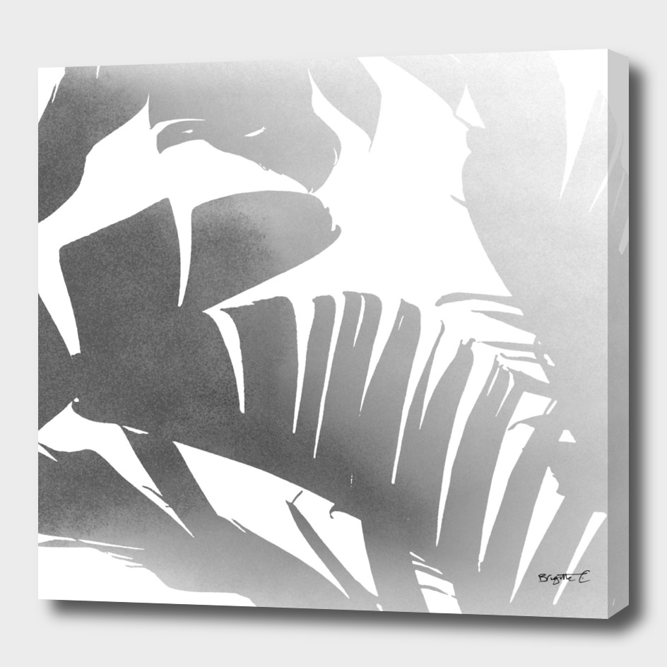 Black and White Tropical Banana Leaves In The Fog Design