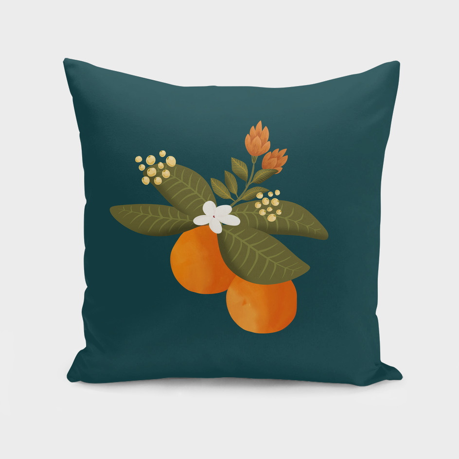 Botanical orange tree pillow in dark blue
