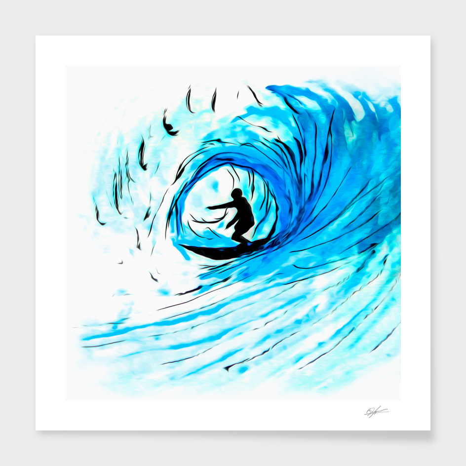 Surfer in blue