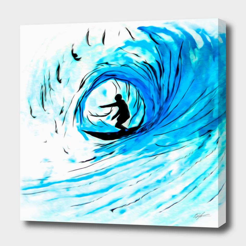 Surfer in blue