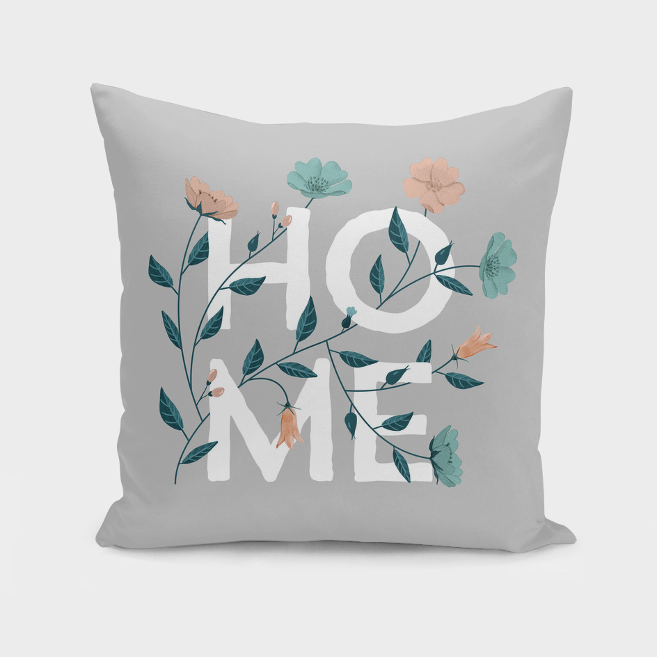 Home: grey floral with pastel flowers