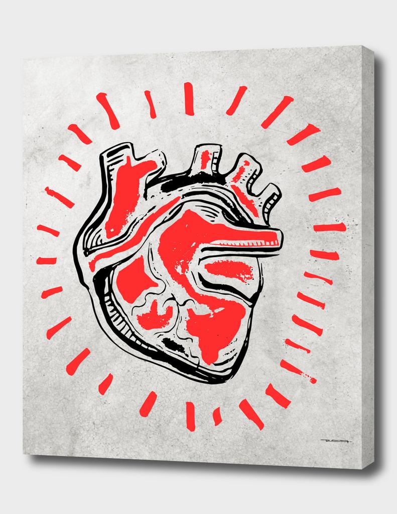 Human heart ink hand drawn illustration