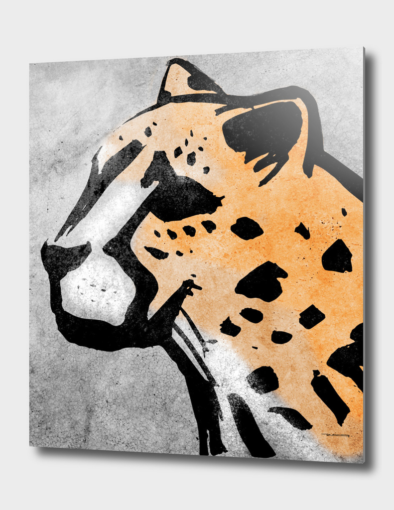 Cheetah head ink hand drawn vector illustration