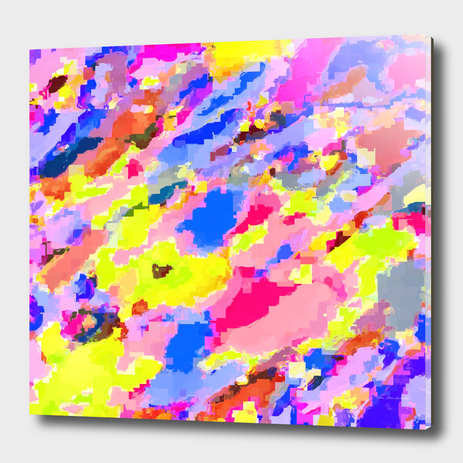 geometric square pixel pattern abstract in pink blue yellow