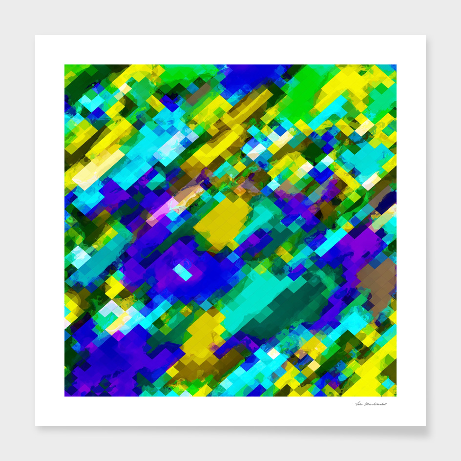 geometric square pixel pattern abstract in green blue yellow