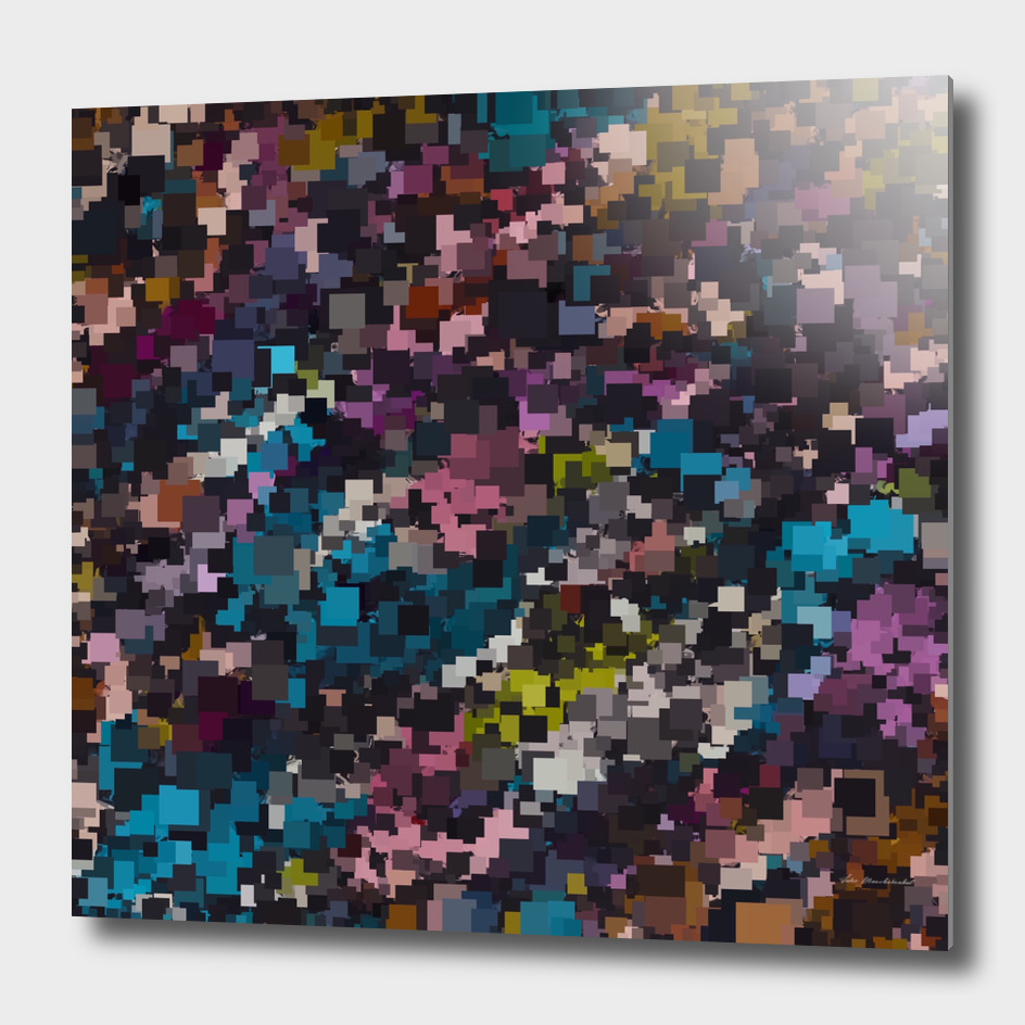 geometric square pixel pattern abstract in pink blue brown