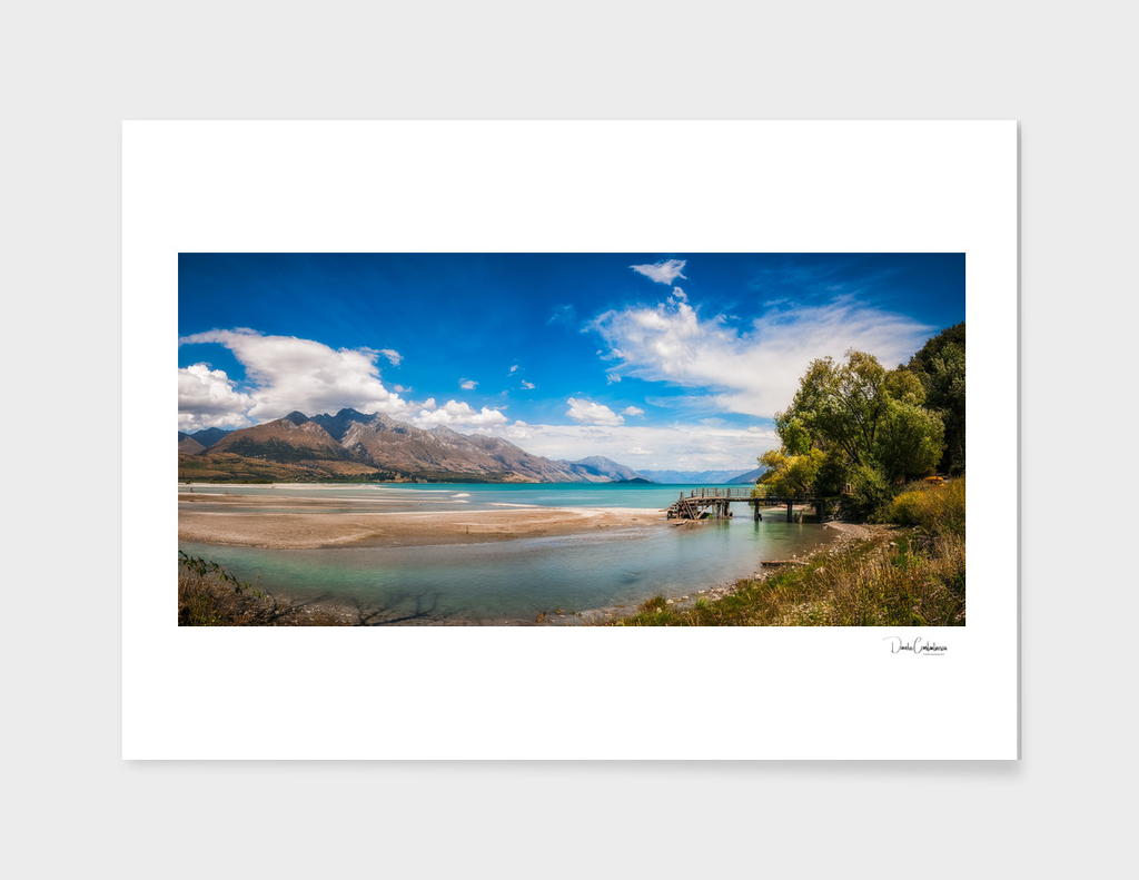 Unspoiled alpine scenery at Kinloch Wharf, New Zealand