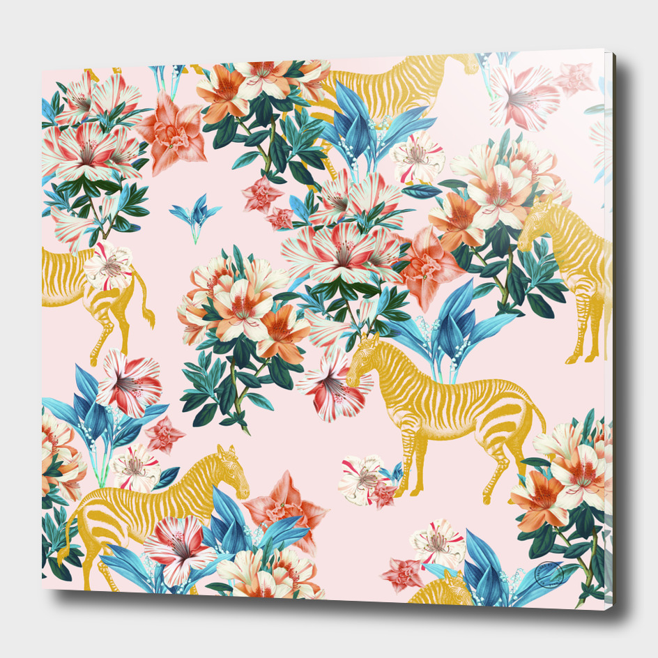 Floral and Zebras-art-print
