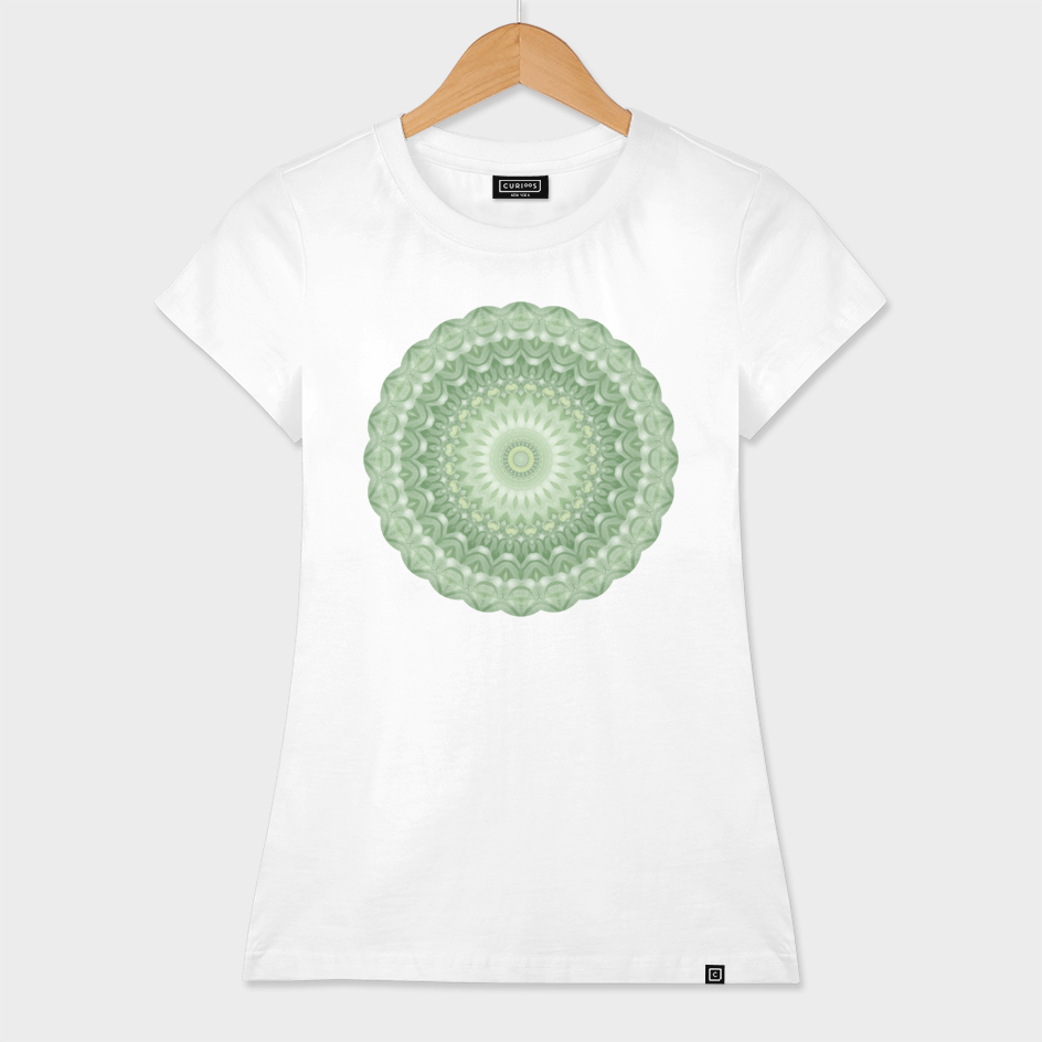 Spring Mandala in Green, Yellow and White