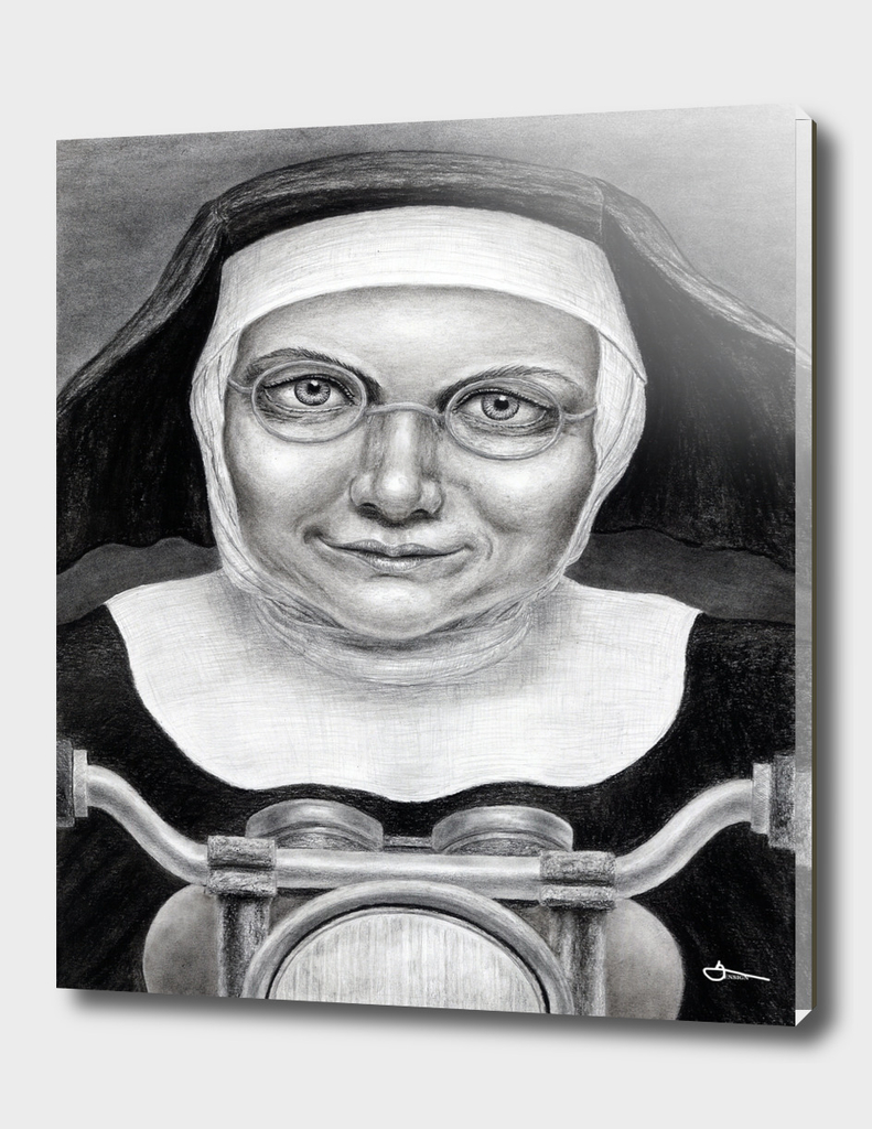Nun on a motorcycle - charcoal drawing