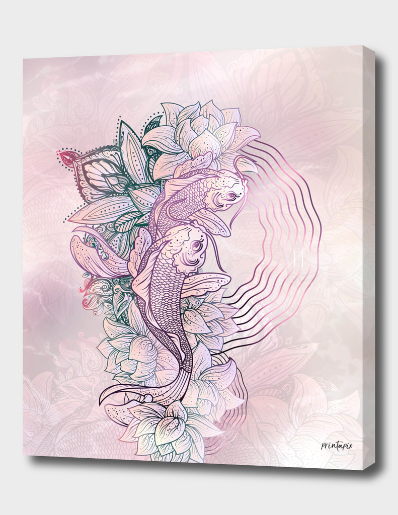 koi fish & lotus