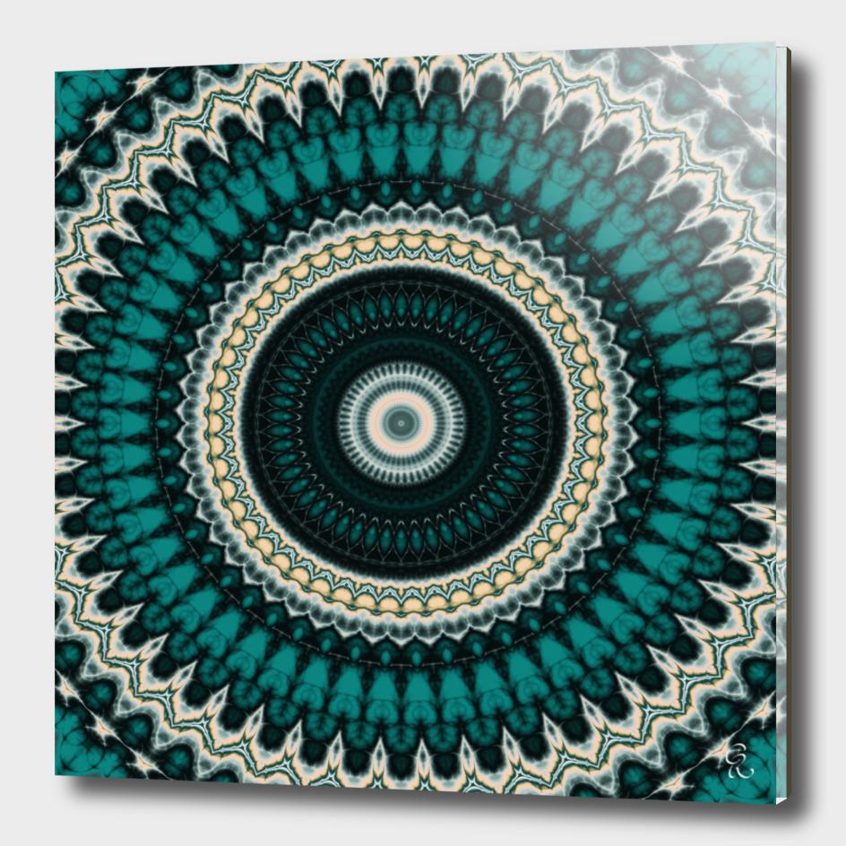 Mandala Fractal in Teal Study 01