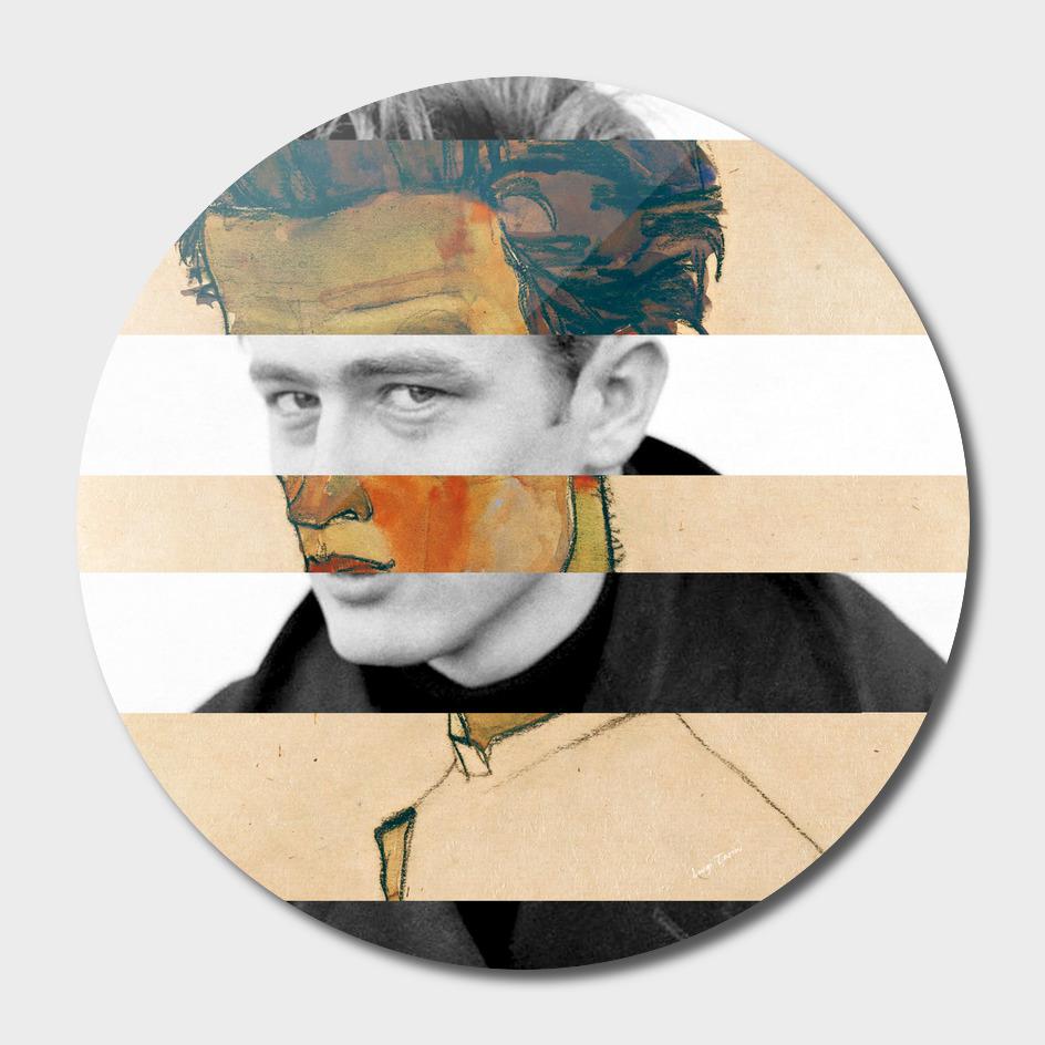 Schiele's Self Portrait with Striped Shirt & James Dean