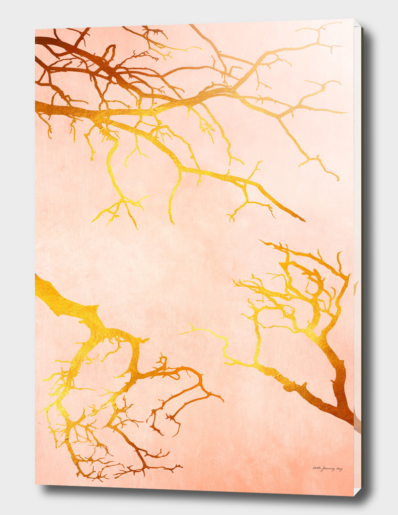 Golden Tree Branches on an Ocher and Pink Textured Old Metal
