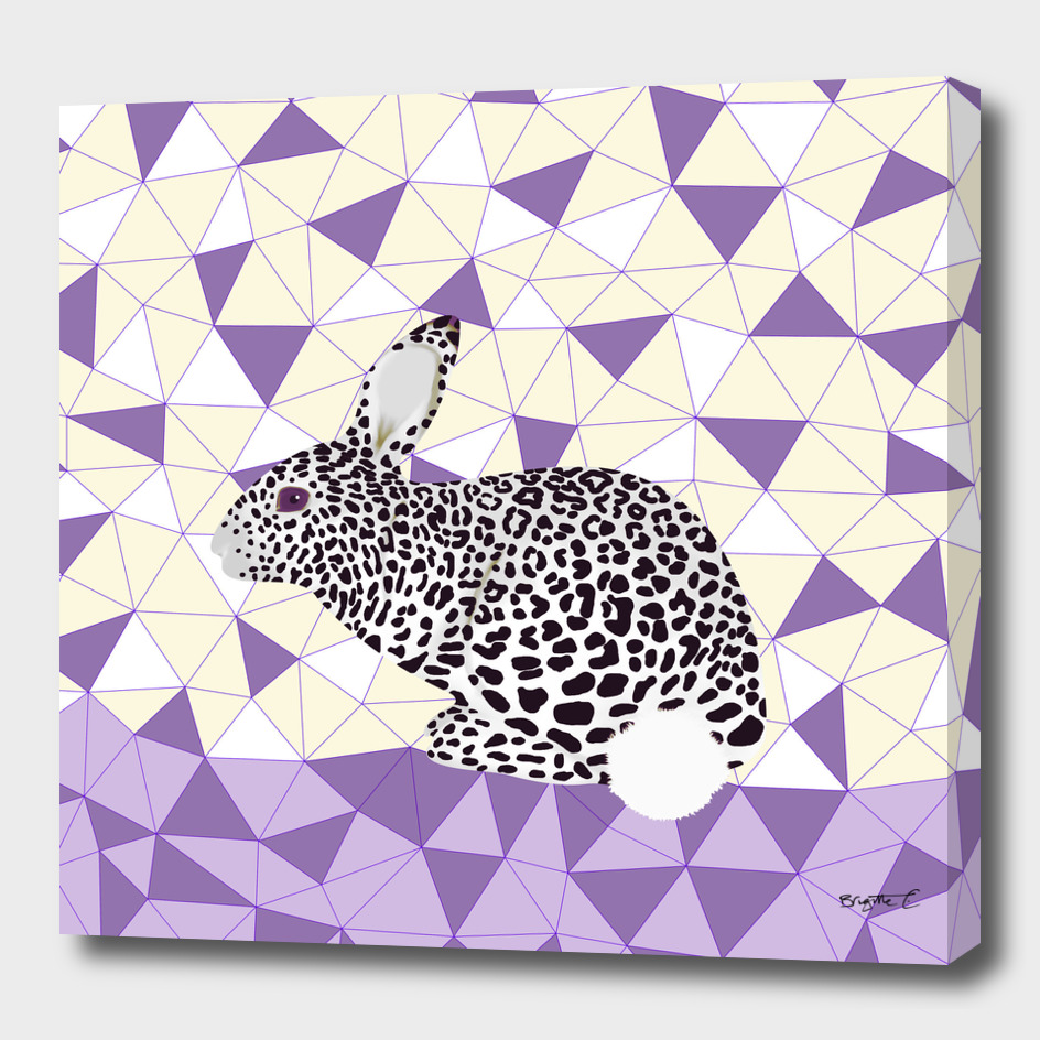 Cute Purple Pastel Rabbit Leopard Pattern Design
