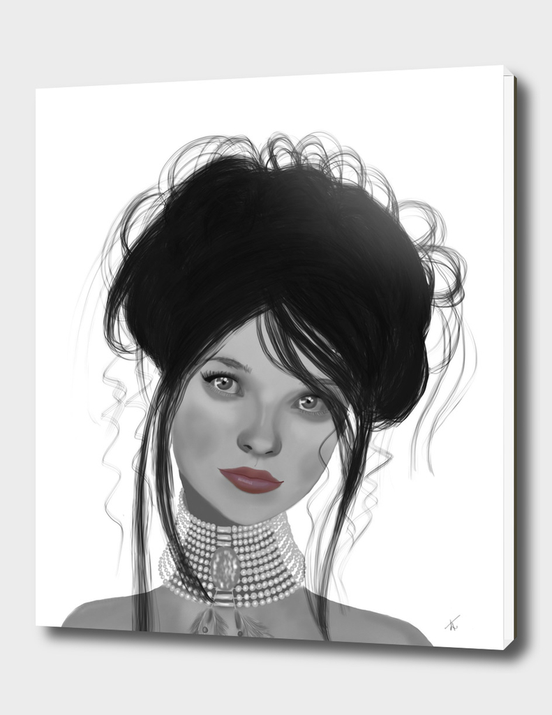 Pearl_Choker Black and white