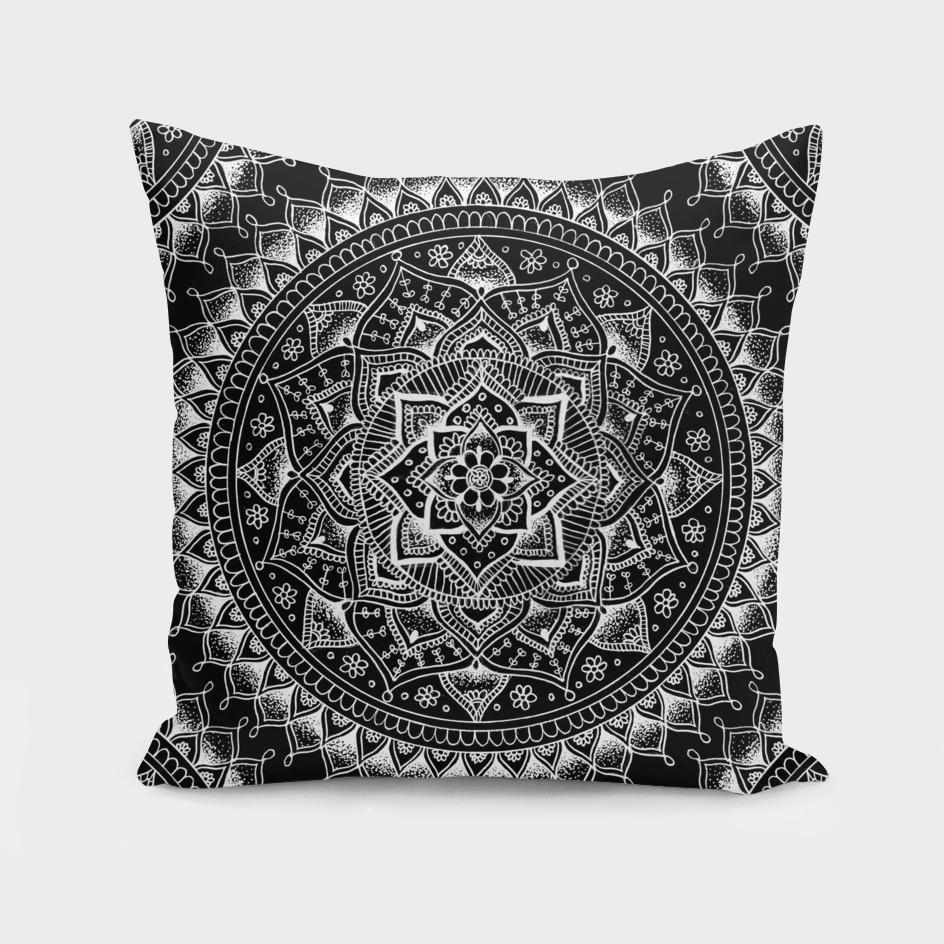 White flower Mandala on Black