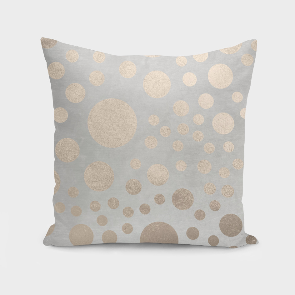 Champagne Gold Dots Pattern on Old Metal Texture