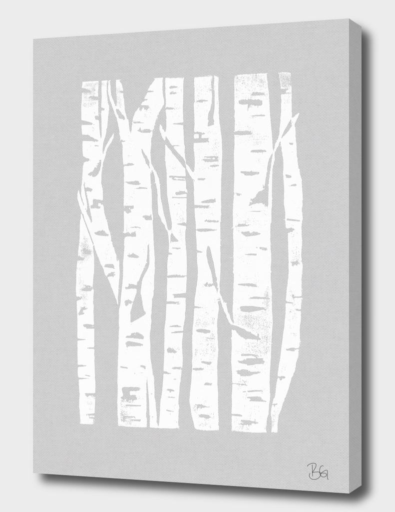 Woodcut Birches Grey