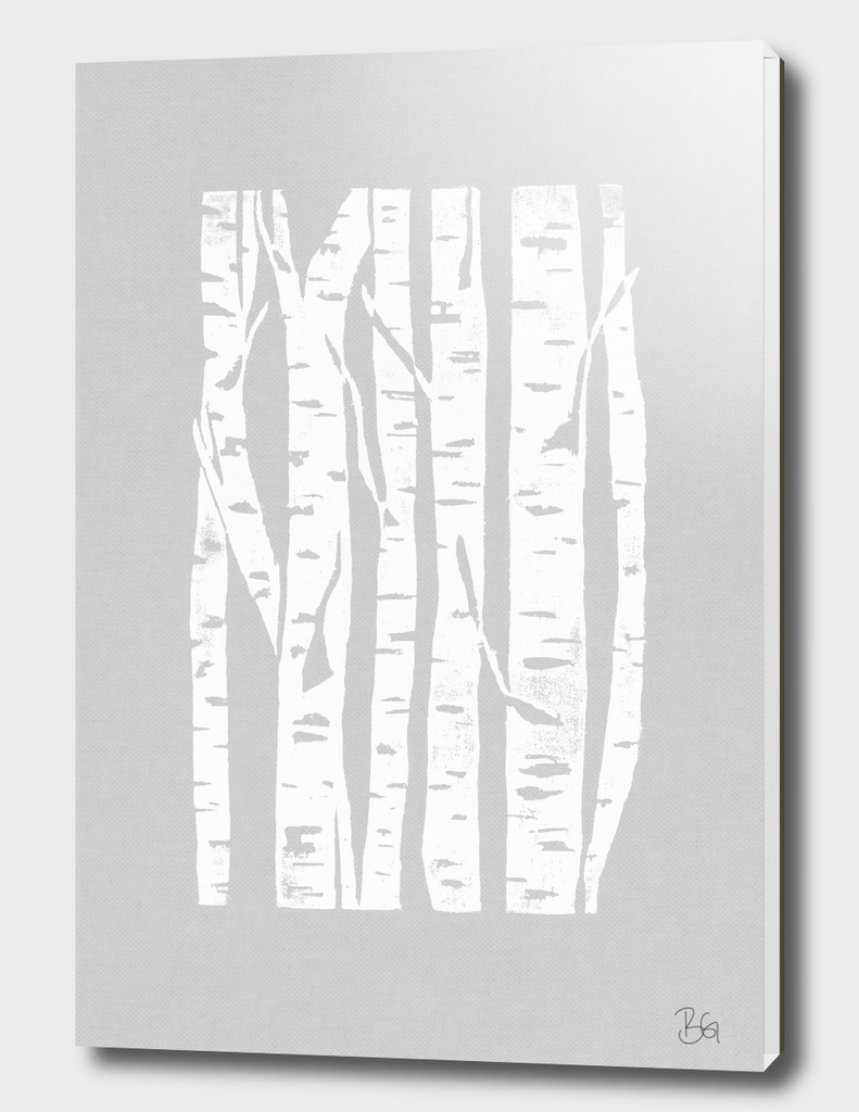 Woodcut Birches Grey