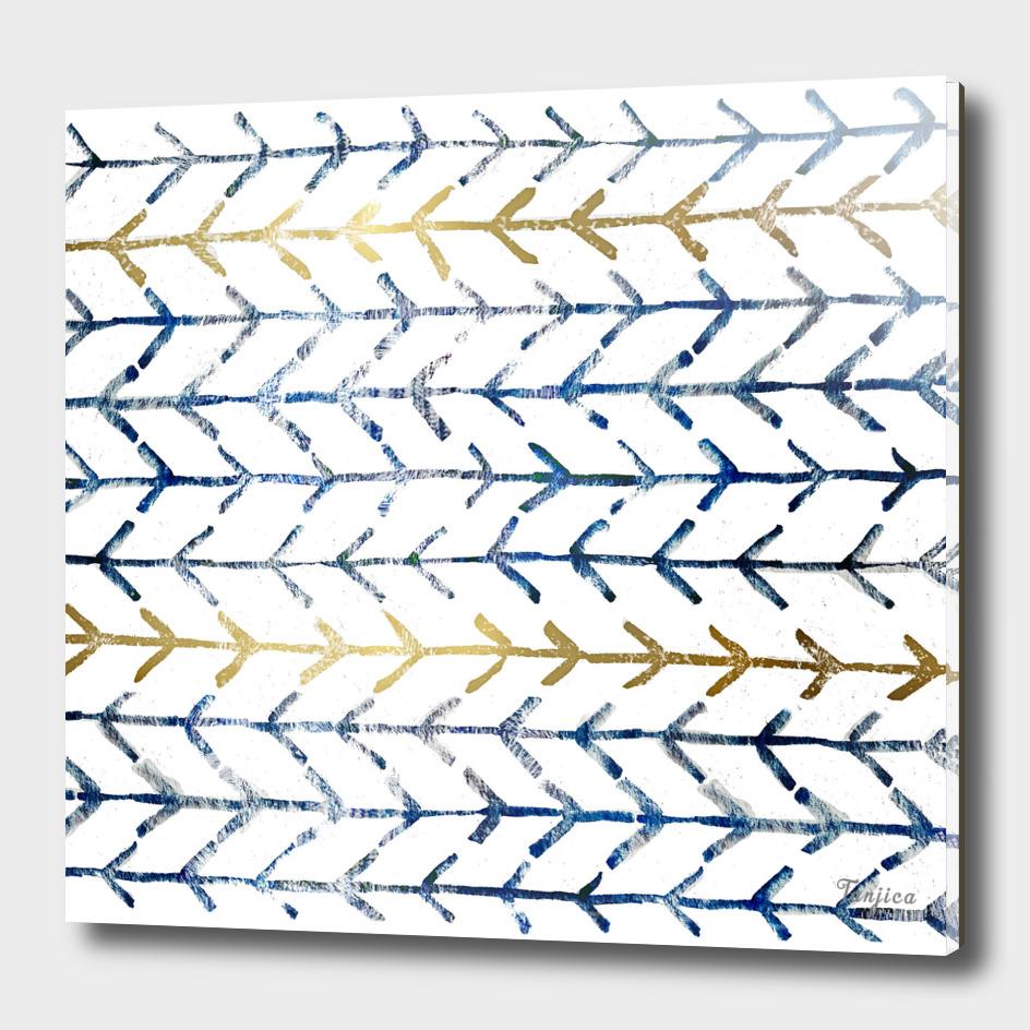Indigo Gold Herringbone Pattern