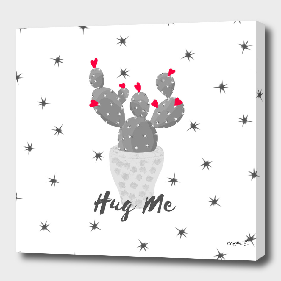 Hug Me Cactus in Pot Hearts Design