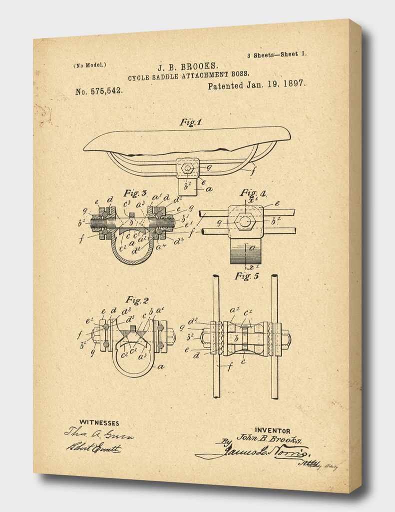 1897 Patent Bicycle saddle