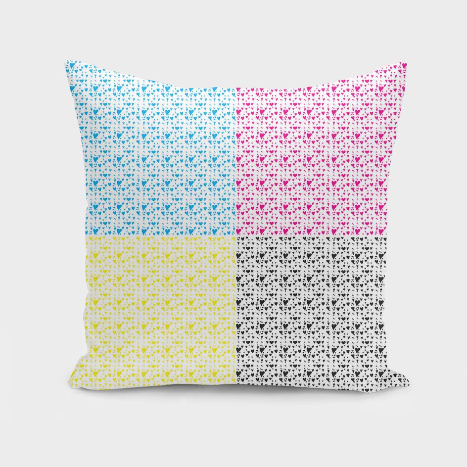 Imperfect Hearts Checkerboard Pattern - CMYK/WHITE